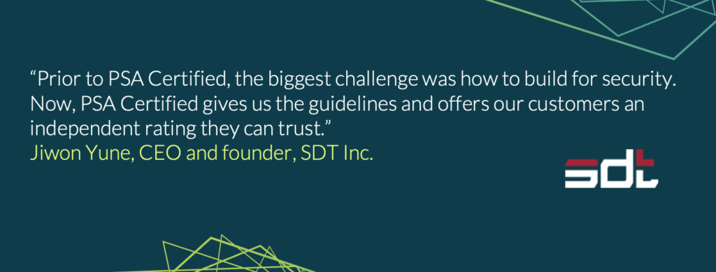 Jiwon Yune, CEO and Founder or SDT Inc. shares how PSA Certified helped them build trust with their customers