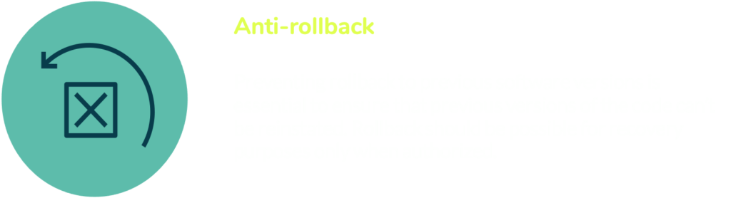 Anti-rollback prevents rollback to previous software versions and is essential to ensure previous versions of code can't be reinstated.